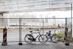 Bicycles (BasLoo) Tags: bicycle bicycles fence silhouet silhouette traffic sign bridge under botlek rotterdam ov fiets construction site road block canon eos 6d canon6d ef50mm ef 50mm 114 f14 usm lens photography dslr