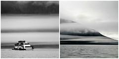 Auke Bay ~ mono views (karma (Karen)) Tags: juneau alaska aukebay clouds boats bw monochrome diptych mmm