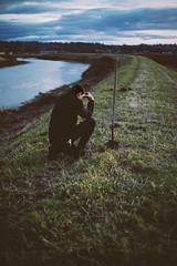 47 (photoshepherd) Tags: 365 depression burial shovel dirt earth self selfie selfportrait portrait pnw grass river travel adventure sad tears clouds