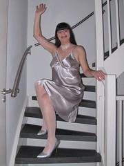 Hi! (Paula Satijn) Tags: sexy hot girl gurl tgirl tranny transvestite satin silk nightdress nightie chemise silver stairs staircase pumps heels shiny soft legs stockings lady woman dress gown