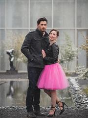 Jason and Krista (Vincent F Tsai) Tags: portrait fashion engagement couple man woman snow snowing outdoor pose fullbody reflection skirt ruffle friends cold olympusmzuiko75mmf18 panasonic lumixg7
