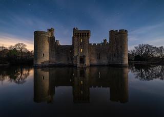 Bodiam Castle at full moon