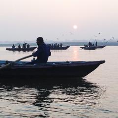 (dustinchanphotography) Tags: morning sunset sun india bird beach nature water beautiful birds sunrise river boats dawn boat dusk indian traditional horizon flock peaceful shore varanasi rowing ripples hazy tranquil inspiring ganges