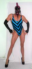 My latex mask (queen.catch) Tags: femme sissy heels masked pantyhose leotard ladyboy latextranny shinylatex shemalemask