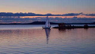 Calm evening on the lake Vesijärvi. Finland. After sunset