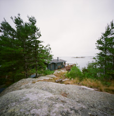 from High Rock (.grux.) Tags: trees 120 6x6 film water coffee rock mediumformat island cabin georgianbay pinhole expiredfilm fujireala100 zeroimage2000