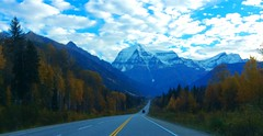 Mount Robson framed by autumn colours (peggyhr) Tags: autumn trees snow canada clouds highway bc mountrobson peggyhr