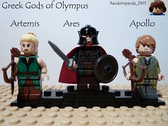 Artemis, Ares and Apollo (Random_Panda) Tags: greek lego fig olympus figure gods minifig figures figs minifigure mnifigures