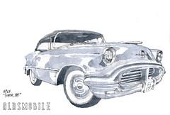 Clermont, Oldsmobile (gerard michel) Tags: auto sketch aquarelle croquis ancêtre