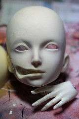 Tutorial - disfigured girl - step 1 (Mamzelle Follow) Tags: makeup gore tutorial harlan stepbystep disfigured faceup abigaelle bjdmod eyesmodification larmoirededandan