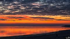 Colorful sky after sunset (BraCom (Bram)) Tags: bracom afterglow sunset zonsondergang beach strand sky cloud wolk reflection spiegeling evening avond clouds wolken dike dijk trashcan vuilnisbak gloed orange oranje herkingen goereeoverflakkee grevelingen zuidholland nederland southholland netherlands holland canoneos5dmkiii widescreen canon 169 canonef24105mm bramvanbroekhoven nl