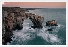 Shaped (Stuart Leche) Tags: atlanticocean cliffs clouds coast gelogy greenbridgeofwales irishsea landscape littlestopper longexposure pembrokeshire rocks sea seascape stuartleche sunset uk wales waves