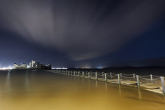 Time Flies (modulationmike) Tags: longexposure night water coastal colour nikon lake post causeway westonsupermare clouds movement reflections lights starburst smooth