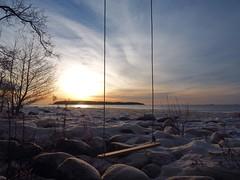 Hanging from heaven (Jarno Nurminen) Tags: finland helsinki lauttasaari snow frost ice rocks sunrise morning winter sea shore swing