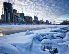 Calgary ice cube Panorama_Vertical (John Andersen (JPAndersen images)) Tags: 12monthsofthesameimage 2017 bowriver calgary city cold ice january skyline towers winter wow