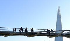 Millenium Bridge and Shard Highrise, London (Winfried Scheuer) Tags: bridge sky triangle pey architect foster norman wobbly people telelens minimal landmark monument