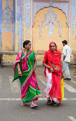 Indian women on street in Jaipur, India (phuong.sg@gmail.com) Tags: ancient architecture asia asian bazaar beautiful building city color colorful crowd culture design dirty dress facade female garbage heritage hindu historic india indian indra jaipur jam lady landmark market old palace passengers people pink rajasthan restaurant rickshaw riders road saree scenic street tourism traditional traffic trash travel urban women