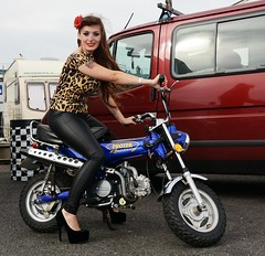 Holly NF 155 (Fast an' Bulbous) Tags: monkey bike motorcycle girl woman long brunette hair high heels leggings stilettos leather pvc people outdoor hot sexy chick babe biker vehicle monkeybike motorscooter nikon d7100 gimp santa pod england leopardprint