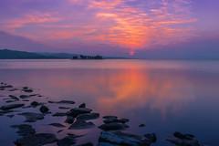 sunset 8687 (junjiaoyama) Tags: japan sunset sky light sun cloud weather landscape blue purple contrast colour bright lake island water nature winter
