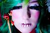 Xmas Makeup 3 (kusmirina) Tags: christmas xmas humans tree baum tanne weihnachtsbaum makeup makeupartist grün geschenke presents ornaments shooting fotoshooting model nature greenhair beautyshot gift personen