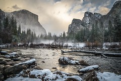 Misty Morning (J. Weed) Tags: nikon yosemite landscape snow mountains clouds water river mist tree