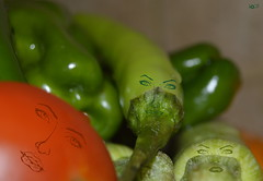 citizens of vegetables kingdom..!! (Doctor Ahmed Badr) Tags: vegetables pepper zucchini tomato red green food nikond3200 nature art gimp