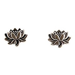 Tiny Detailed Lotus Flower Stud Earrings in Sterling Silver, Suitable for Adults or Children, #7582 (goodies2get2) Tags: amazoncom bestsellers sterlingsilver toprated under25