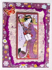 ATC1330 - Purple haze (tengds) Tags: atc artisttradingcard artcard handmadecard card collage geisha purple flowers saapaper butterfly pink shamisen papercraft tengds