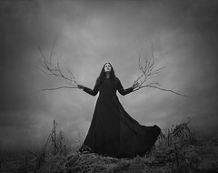 The Nerve (Maren Klemp) Tags: fineartphotography fineartphotographer conceptual blackandwhite monochrome branches surreal ethereal evocative woman portrait selfportrait dramatic naturallight clouds dress dreamy painterly symbolic nature outdoors