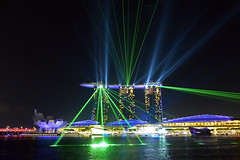 Singapore Light Show (brentflynn76) Tags: city light urban building skyline architecture night marina hotel bay harbor singapore display harbour laser sands