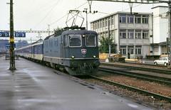 Langenthal Re4/4ii 11154 Brig to Basel BLS coaches 11th Aug 88 C10733 (DavidWF2009) Tags: schweiz switzerland sbb re44ii langenthal 11154