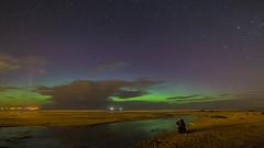 One man and his dog admiring the phenomenon that is the Aurora Borealis (the northern lights) on Downhill beach (jac.photography49) Tags: astrometrydotnet:status=failed astrometrydotnet:id=nova1294643