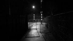 The Zebra at Night (JamieHaugh) Tags: light blackandwhite monochrome night outdoors crossing shadows outdoor path zebra walls clevedon northsomerset