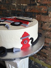 Fire Truck Cake (Annie's Culinary Creations) Tags: boots firetruck childrenscake kidscake