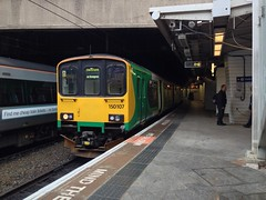 150107 at Birmingham New Street (TheJRB) Tags: uk england station train birmingham diesel transport rail railway trains 150 rails lm nr westmidlands newstreet unit bhm dmu brel birminghamnewstreet networkrail dieselmultipleunit class150 londonmidland govia 150107 1v29