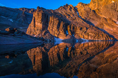 Enlightening Alignment (West Leigh) Tags: travel lake reflection nature water rock sunrise landscape climb colorado outdoor earth dream roadtrip hike adventure explore reflect granite rockymountains longspeak naturalbeauty nationalparks discover travelphotography chasmlake shipsprow canoneos7d