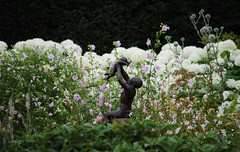 Loseley Park - Surrey (Mark Wordy) Tags: sculpture gardens surrey whitegarden loseleypark hydrangeaannabelle holdingachild manwithababy