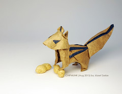 CHIPMUNK (Aug 2015) (Zsebe Origami) Tags: squirrel origami chipmunk stripedsquirrel zsebeorigami jozsefzsebe jozsefzsebeorigami zsebesworks zsebeworks origamichipmunk