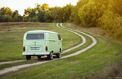 VW T2 (Andrey Baydak) Tags: green classic field grass vw volkswagen countryside dof path 85mm automotive retro trail oldtimer van 1970s minivan 1973 transporter whitewall t2 panelvan aircooled windingroad type2 зеленый трава дорожка поле typ2