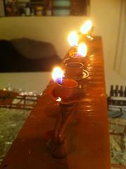 One for each night (rasputina2) Tags: candles burning menorah hanukkiah eighthnight