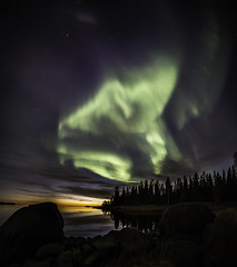 Auroras over a fading sunset (Leksa87) Tags: canon eos 6d landscape aurora sunset vertorama finland northern lights