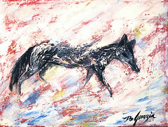 """Upon request here is a photo of DeGrazia's """"Untitled-Coyote"""". (DeGrazia Gallery in the Sun) Tags: teddegrazia degrazia ettore ted artist galleryinthesun artgallery gallery nationalhistoricdistrict foundation nonprofit adobe architecture tucson arizona az catalinas desert paletteknife oil painting coyote"""