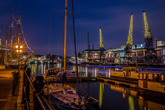 Christmas harbour.... (Dafydd Penguin) Tags: christmas harbour lights crane harbor port dock water night shots after dark tripod long exposure slow shutter speed vessel ship sail balmoral yacht canal boat waterside harbourside west country bristol nikon df nikkor 35mm af f2d