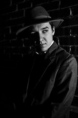 NOIR V (giladvalkor) Tags: noir suit hat blackandwhite bw monochrome alley 1940s 1950s cigarette smoking darkphotography shadows night creepy scary man concert people contrast