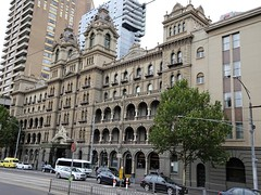 Melbourne. The famed Windsor luxury Hotel. Built in stages from 1884 to 1888. (denisbin) Tags: elbourne windsorhotel hotel postoffice handm deaprtmentstore tower clocktower frenchempire arcade