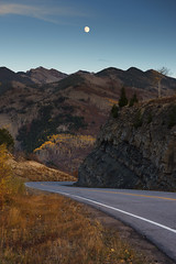 Artists live in unknown spaces and give themselves over to following something unknown... (ferpectshotz) Tags: moon colorado rise road roadtrip fall autumn mountains uplift
