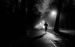 on the run (Dan-Schneider) Tags: streetphotography street night creepy blackandwhite bw dark human fuji silhouette shadow light monochrome