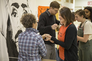 Amber Ginsberg and Aaron Hughes Serve Tea to Members of Witness Against Torture at the Breaking of a Week-Long Fast