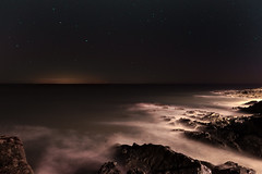 Irish Sea (shaymurphy) Tags: smp82772 irish sea water ocean night photography long exposure waves smokey rocks moonrise sky stars dark clouds nikond700