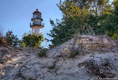 View of the Lighthouse at Whitefish Point over the Dunes (PhotosToArtByMike) Tags: whitefishpoint michigan whitefishpointmichigan mi sanddune dunes lakesuperior paradisemichigan upperpeninsulaofmichigan upperpeninsula up uppermichigan beach